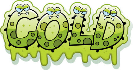 snot: A cartoon illustration of the text Cold with a slimy germ theme.