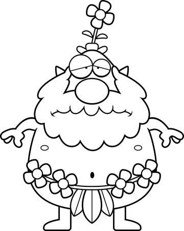 sprite: Una ilustraci�n de dibujos animados de un sprite bosque buscando triste.