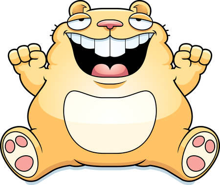 A cartoon illustration of a fat hamster smiling and sitting.