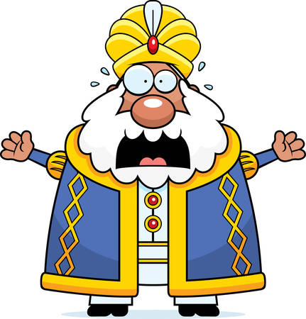 A cartoon illustration of a sultan looking scared.