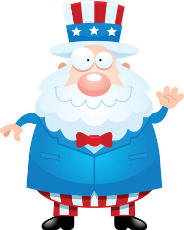 sam: A cartoon illustration of Uncle Sam waving.