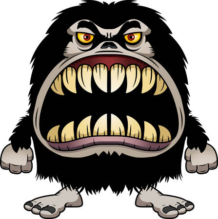 A cartoon illustration of a hairy monster with a big mouth full of sharp teeth.