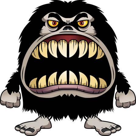 Une illustration de bande dessinée d'un monstre poilu avec une grande bouche pleine de dents acérées.