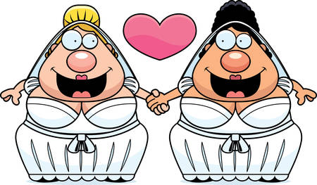 spouses: A cartoon illustration of a gay couple holding hands and in love.