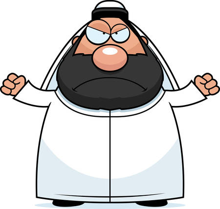 sheik: A cartoon illustration of a sheikh looking angry. Illustration