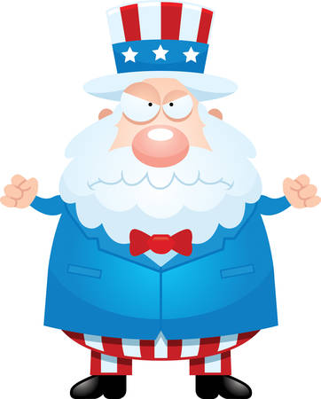 sam: A cartoon illustration of Uncle Sam looking angry.