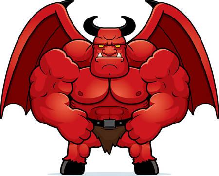 flexing: A cartoon illustration of a muscular demon flexing.