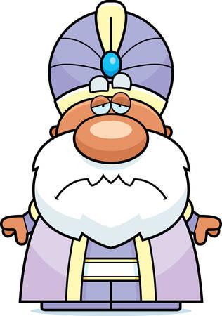 A cartoon illustration of a maharaja with a sad expression.