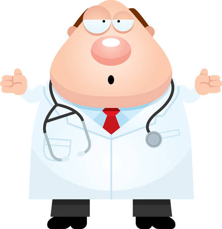 A cartoon illustration of a doctor looking confused.