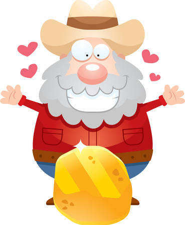 A cartoon illustration of a miner with a gold nugget.