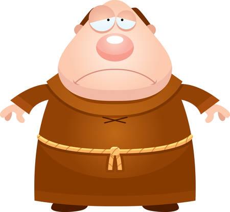 A cartoon illustration of a monk looking sad. Ilustração