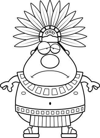 Une illustration de bande dessinée d'un roi aztèque air triste.