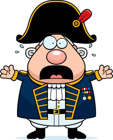 A cartoon illustration of a British Admiral looking scared. Illustration