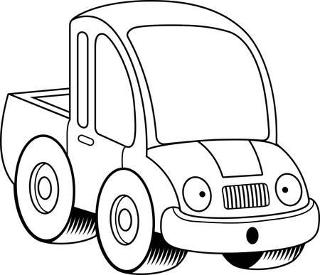 camioneta pick up: Una ilustraci�n de dibujos animados de una camioneta que parece sorprendido. Vectores