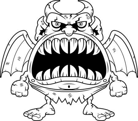 big mouth: A cartoon illustration of a gargoyle with a big mouth full of sharp teeth. Illustration