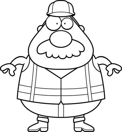 Un fumetto illustrazione di un operaio strada con un paio di baffi. Archivio Fotografico - 44476323