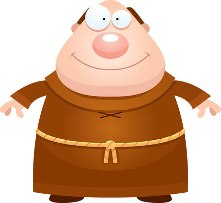 A cartoon illustration of a monk looking happy.