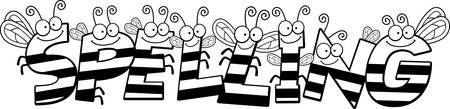 A cartoon illustration of the text Spelling with a bee theme. Çizim
