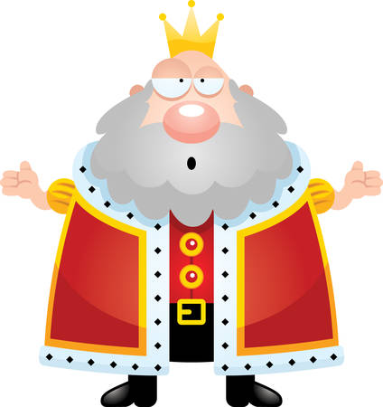 Een cartoon illustratie van een koning zoekt verward. Stock Illustratie