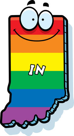 A cartoon illustration of the state of Indiana smiling with rainbow flag colors.