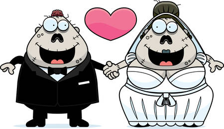 A cartoon illustration of a zombie bride and groom holding hands and in love. Illustration