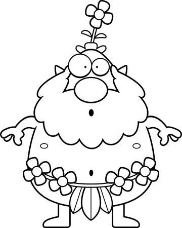 sprite: Una ilustraci�n de dibujos animados de un sprite bosque mirando sorprendido.