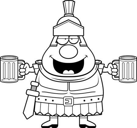 A cartoon illustration of a Roman Centurion drinking beer.