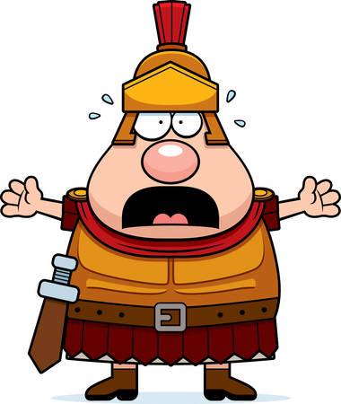 A cartoon illustration of a Roman Centurion looking scared. Illustration