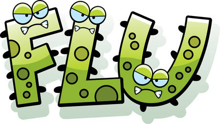 influenza: A cartoon illustration of the text Flu with a germ theme.