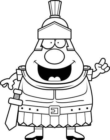A cartoon illustration of a Roman Centurion with an idea.