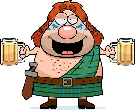 A cartoon illustration of a Celtic warrior drinking beer.