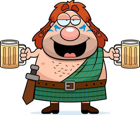 cartoon warrior: A cartoon illustration of a Celtic warrior drinking beer.