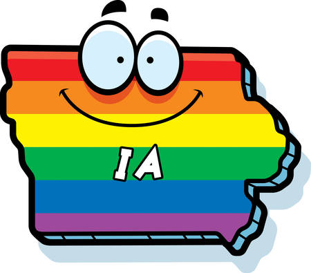 rainbow flag: A cartoon illustration of the state of Iowa smiling with rainbow flag colors.