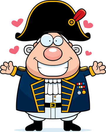 admiral: A cartoon illustration of a British Admiral ready to give a hug. Illustration