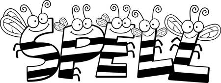 A cartoon illustration of the text Spell with a bee theme. Ilustração