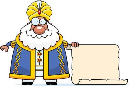 A cartoon illustration of a sultan with a sign.