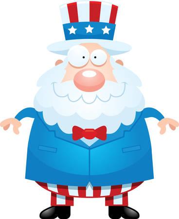 sam: A cartoon illustration of Uncle Sam looking happy.