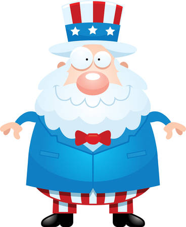 A cartoon illustration of Uncle Sam looking happy.