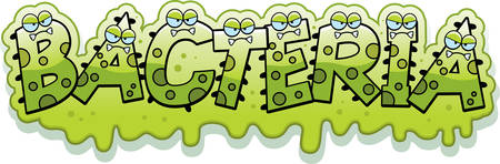 A cartoon illustration of the text Bacteria with a slimy germ theme.