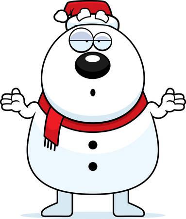 Een cartoon illustratie van een sneeuwpop kerstman zoekt verward.