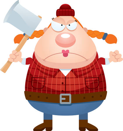 A cartoon illustration of a lumberjack looking angry.