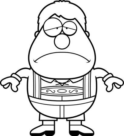 Eine Karikaturillustration eines deutschen Jungen in Lederhosen, der traurig schaut. Standard-Bild - 44476715