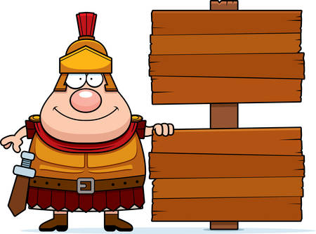 A cartoon illustration of a Roman Centurion with a sign. Illustration