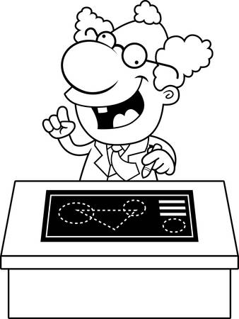 inventing: An illustration of a cartoon mad scientist with a desk and blueprints. Illustration