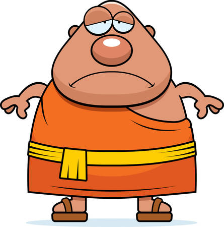 A cartoon illustration of a Buddhist monk looking sad. Ilustrace