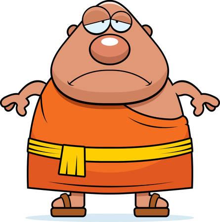 buddhist monk: A cartoon illustration of a Buddhist monk looking sad. Illustration