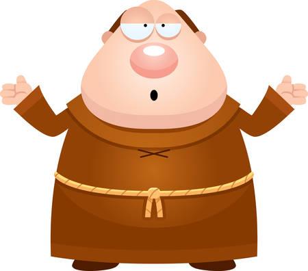 A cartoon illustration of a monk looking confused. Ilustração