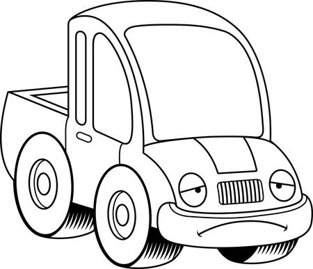 exhausting: A cartoon illustration of a pickup truck looking sad.