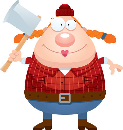 woodsman: A cartoon illustration of a lumberjack looking happy. Illustration