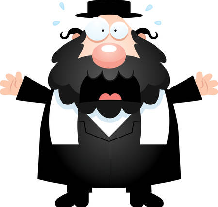 rabbi: A cartoon illustration of a rabbi looking scared.